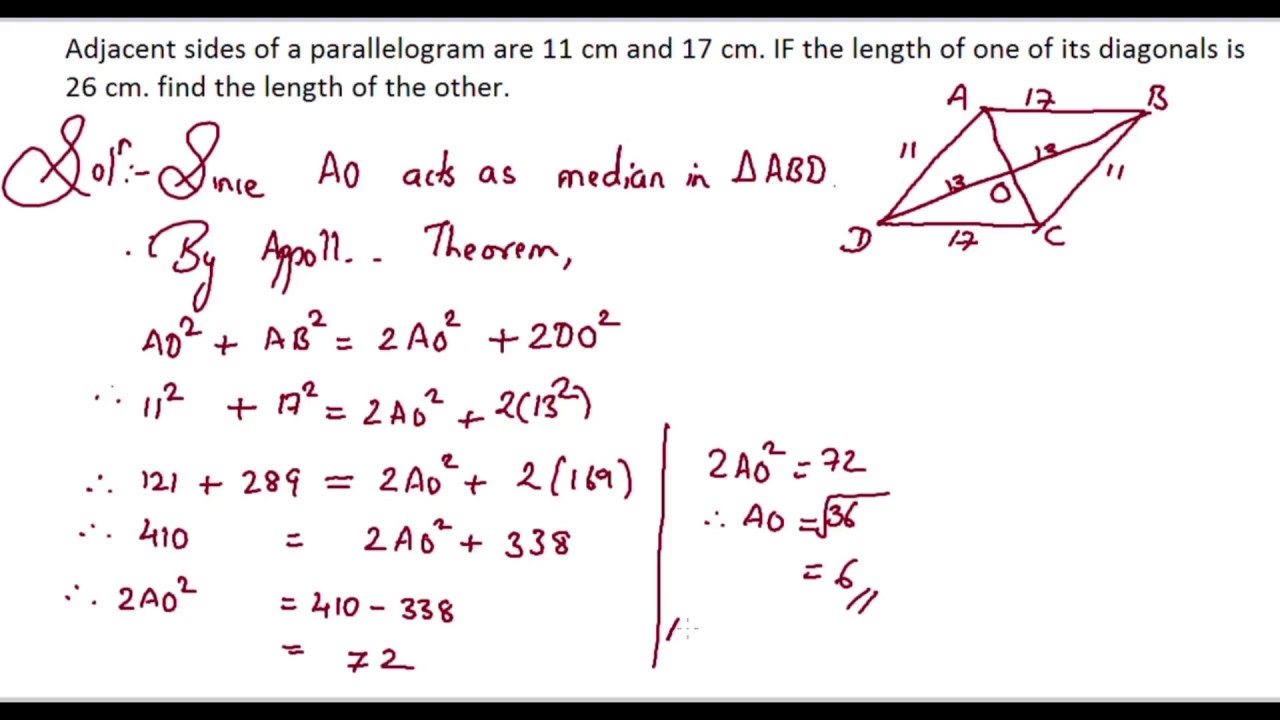 17 Cm 102 Similarity Adjacent Sides Of A Parallelogram Are 11 Cm And 17 Cm If The Length Of