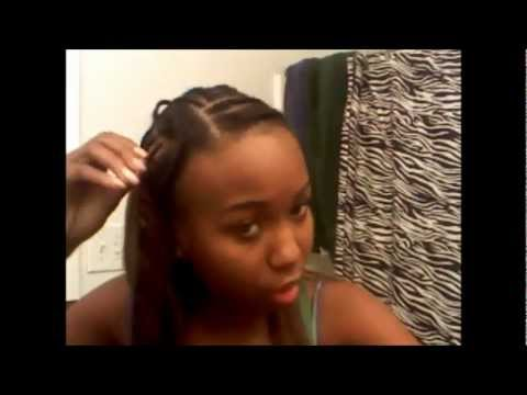 My sew-in with my hair left out - YouTube