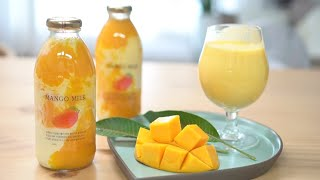 맛있는 생 애플 망고우유 만들기 mango milk :…