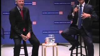 Tony Blair in conversation with President Bill Clinton at the NCC, Philadelphia