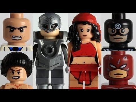 Lego Marvel Daredevil custom comic book characters, including Elektra