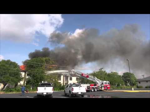 Fire at Summer's Bend Apartments in Seguin, Texas 8/18/14