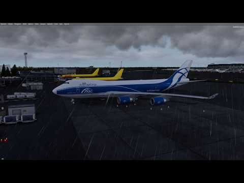 Landing way over max landing weight in short cargo haul from ESSA to ENGM, in the PMDG 747