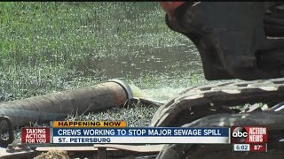Workers try to stop sewage spill