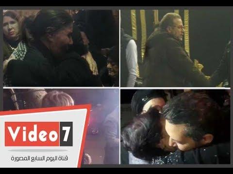 اليوم السابع :شريف منير ودنيا سمير ورجاء حسين وكمال أبو ريه فى عزاء والد صابرين
