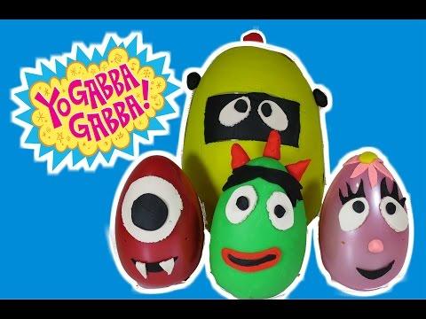 YO GABBA GABBA Play-Doh Surprise Eggs Brobee, Plex, Muno Foofa & Surprise Toys