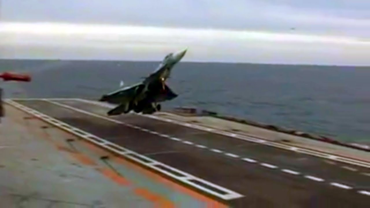 F16 FIGHTER JET STALLED in aircraft carrier during landing