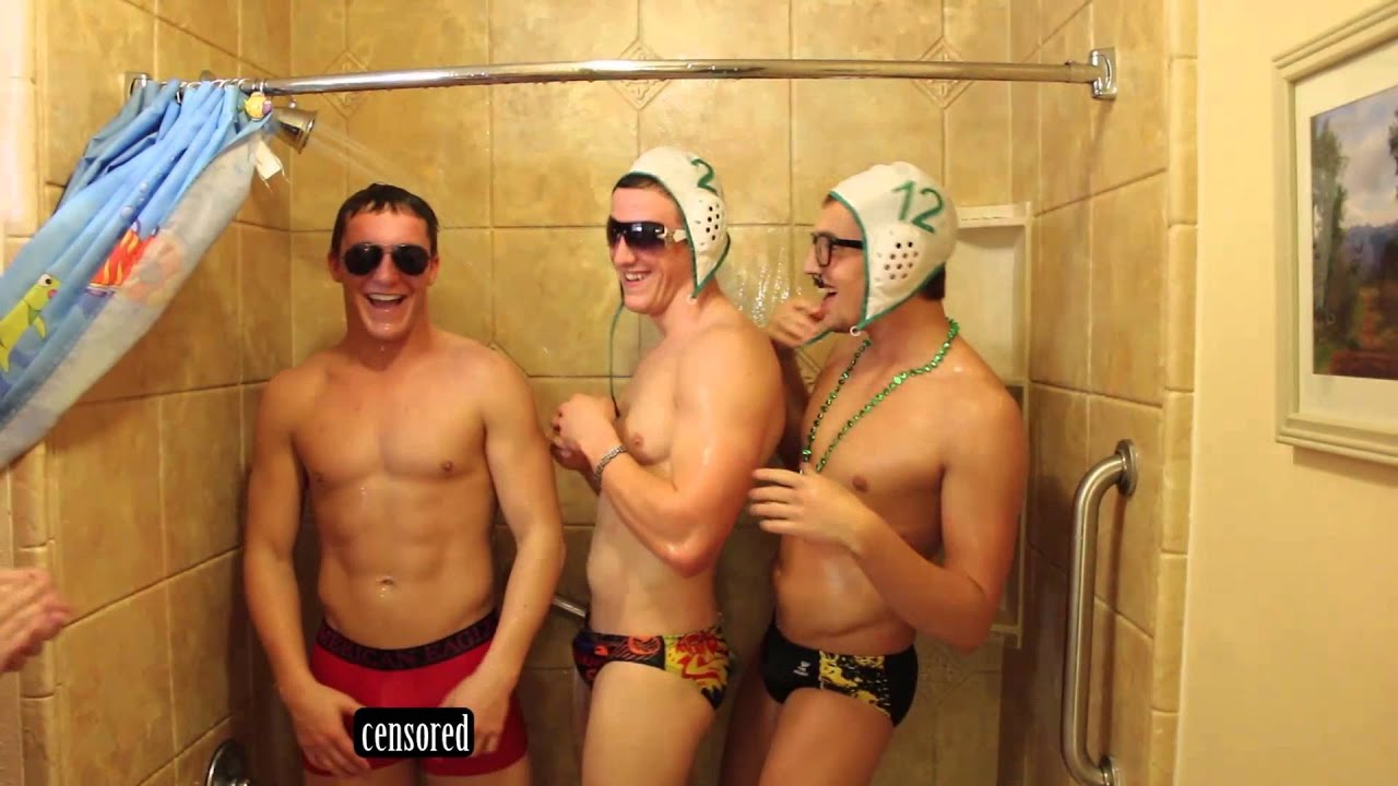Male swim team shower locker