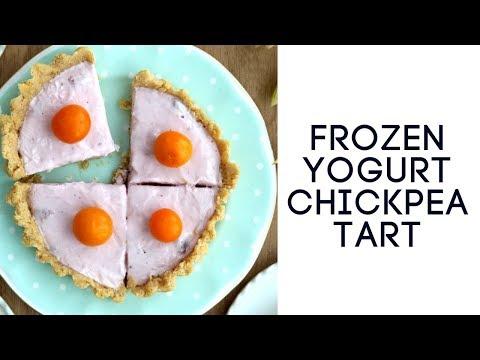 Frozen Yogurt Chickpea Tart | GLUTEN FREE BREAKFAST RECIPES | تورتة الحمص مع الفواكه