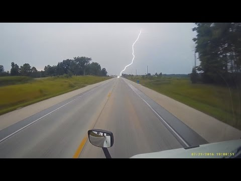 Lightning strike caught on video while driving