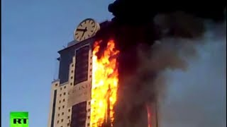Dramatic video: Luxury skyscraper hotel on fire in Russia