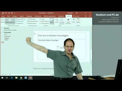 PowerPoint Kurs: schnell Inhalte Erfassung über Gliederungsansicht - https://www.Studium-und-PC.de