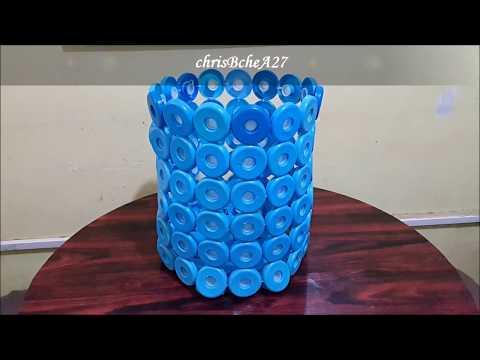 DIY#90 TRASH BIN Using Recycled Bottle Cap