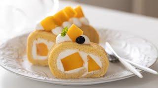 マンゴー・ロールケーキの作り方 Mango Swiss Roll|HidaMari Cooking