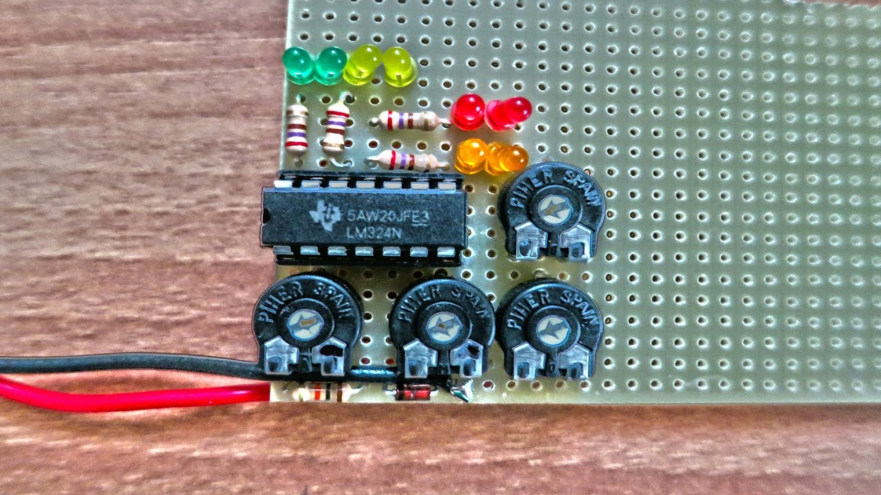 Voltage Indicator Lm324 With Colourful Leds Youtube Sound Detector Using Electronic Projects Circuits