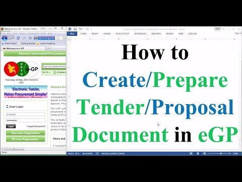 Tender Document Preparation in eGP: How to Prepare Tender/Proposal Document in eGP