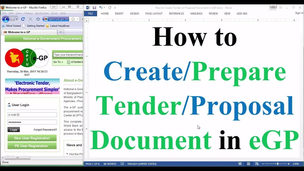 Tender document preparation in egp how to prepare tender for Prepare tender documents