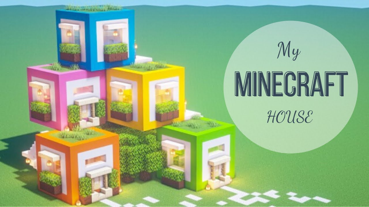 Minecraft tutorial : How to build a simple and super beautiful colorful block house.