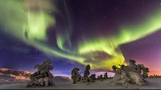 Northern lights Aurora borealis in Lapland in Finland - time lapse - Rovaniemi Levi