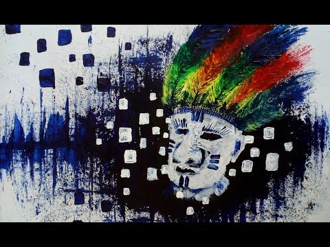 """Abstract Painting using Mount Board """" The Lost Tribe"""""""