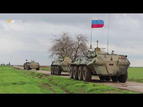 مدرعات أمريكية تمنع دورية روسية من إستخدام الطريق الدولي M4 - نورث برس