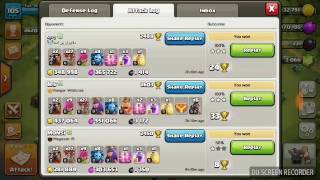 Clash of clans. Best balloon and lavahund attack ever