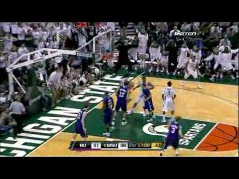 Chris Allen (Michigan State) dunk against Northwestern