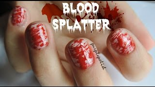Blood splatter (Halloween design #2) - Nail tutorial | purplepolish