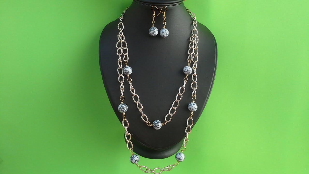 Como hacer un juego de collar y aretes con cadena decorado for Como hacer color piedra