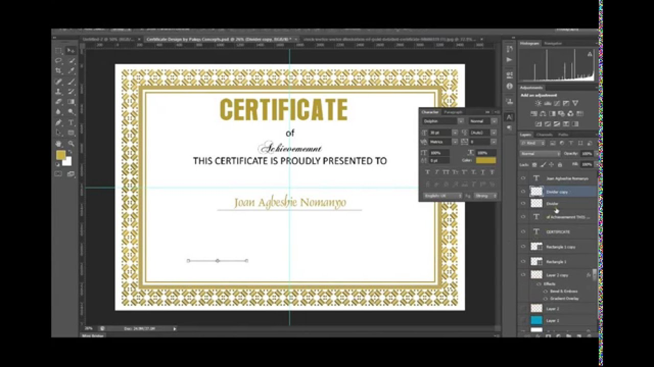 Photoshop certificate design in photoshop free psd youtube photoshop certificate design in photoshop free psd yadclub Image collections