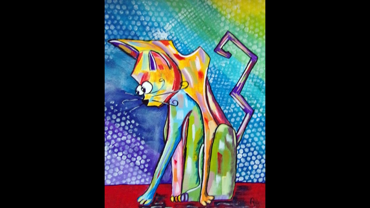 Crazy Cat Acrylic Painting