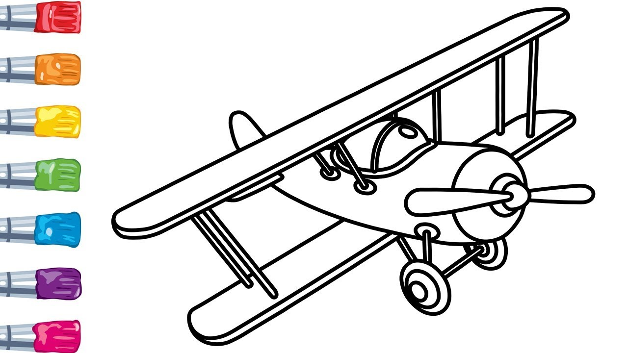 How to Draw a Plane | Coloring Pages For Kids - YouTube