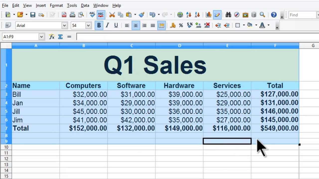 sales spreadsheet examples
