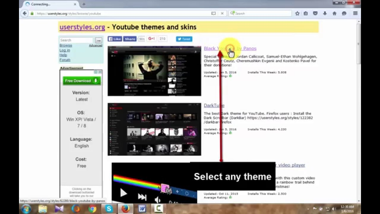How To Change YouTube Theme ( Firefox )