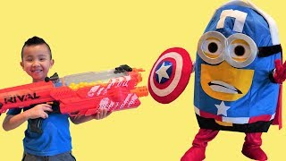 NERF Rival Vs Captain America Minion Kids Fun Playtime With Ckn Toys