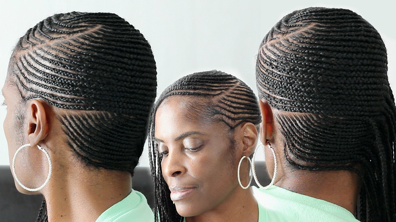 Small Feed in Side Braids Cornrows on Short Natural Hair