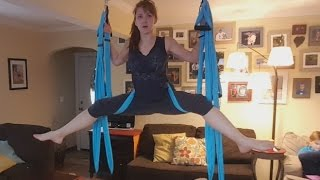 Mom's workout -  first time trying aerial yoga