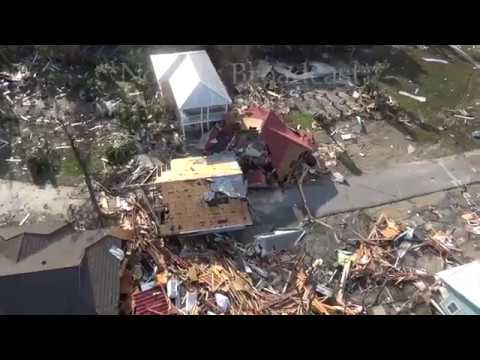 Hurricane Michael Catastrophic aftermath from Helicopter - Mexico Beach, FL - 10/11/2018