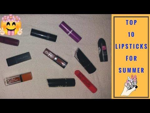 Top 10 Summer Lipsticks For Summer|| Affordable Lipsticks For Every Skin Tone|| Mystique Magic❤||