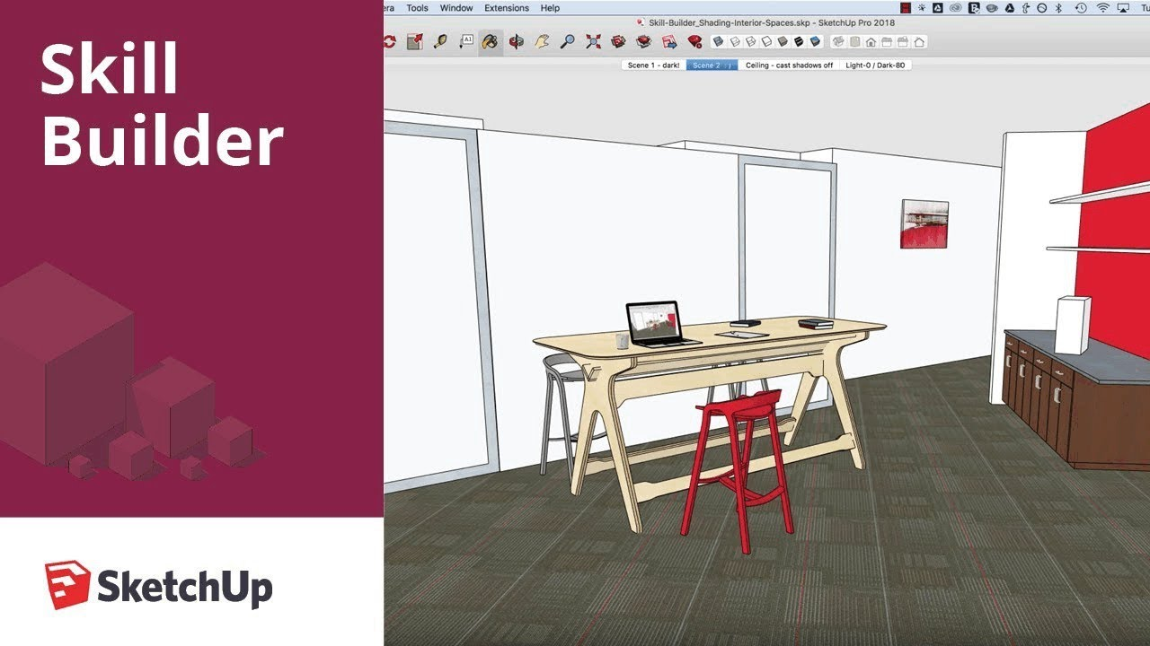 Sketchup skill builder control shading for interior for Rendering gratis
