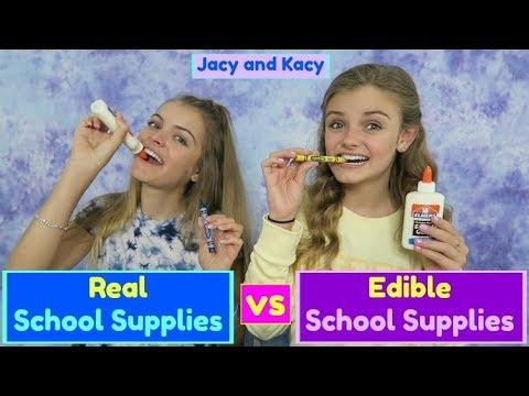 Thumbnail: Real vs Edible School Supplies Challenge ~ Jacy and Kacy