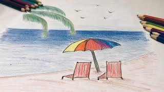 Beach, please! 😍 || Beach Drawing Coloring Pencil