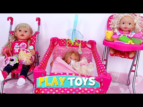 Baby Doll House Toys – Play baby doll bedroom bed, cradle, high chair, pink stroller nursery toy set
