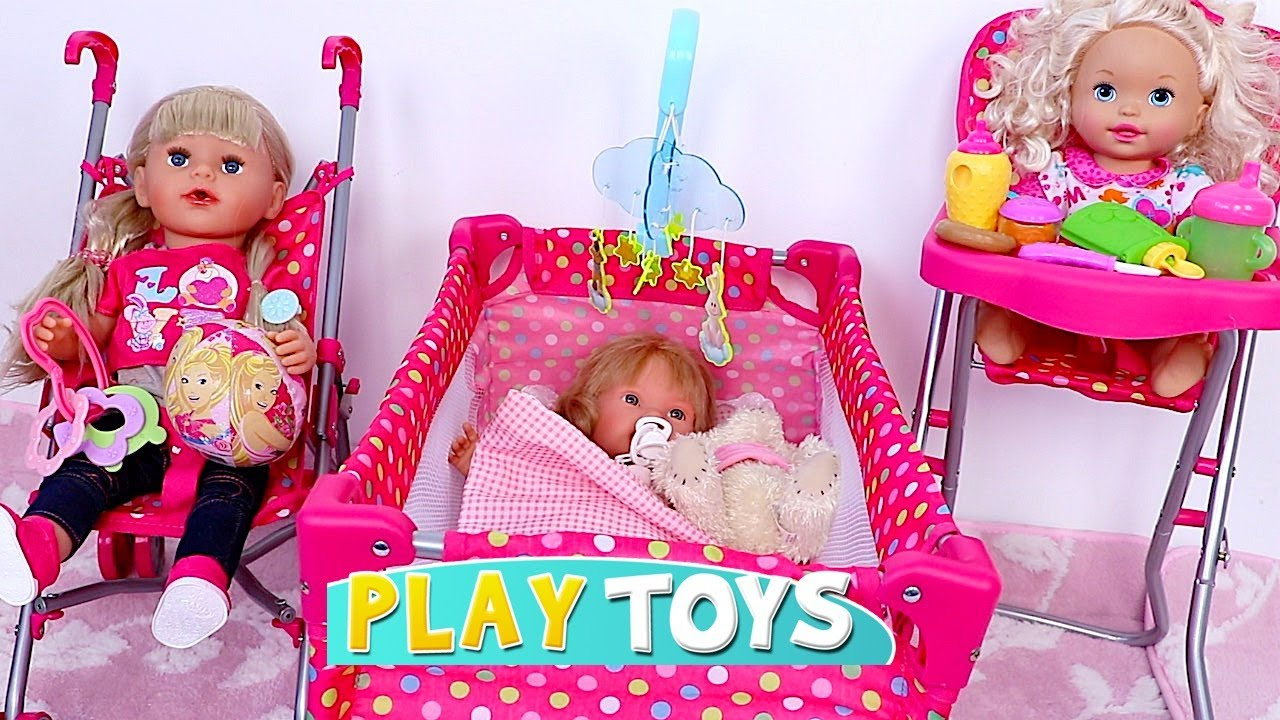 baby toy high chair set cheap vinyl covers doll house toys play bedroom bed cradle pink stroller nursery