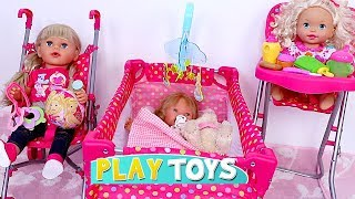 Baby Doll House Toys - Play baby doll bedroom bed, cradle, high chair, pink stroller nursery toy set