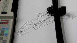 Roland DXY-1300 pen plotter drawing the AutoCAD Space Shuttle DWG from 1985