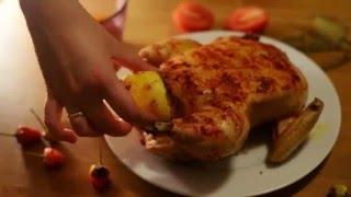 Фаршированная курица в духовке, простой рецепт запеченной курицы