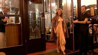 Kylie Minogue, her leopard coat and SUPER SEXY dress at Brasserie Lipp in Paris