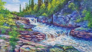 Mountain Stream Landscape Acrylic Painting LIVE Tutorial