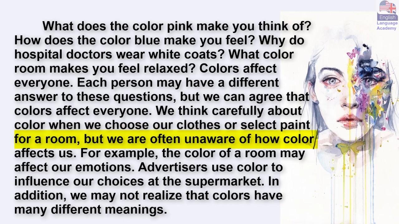 القراءة باللغة الانجليزية وتحسين مهارة النطق.  (الالوان تؤثر علينا Colors affect us)